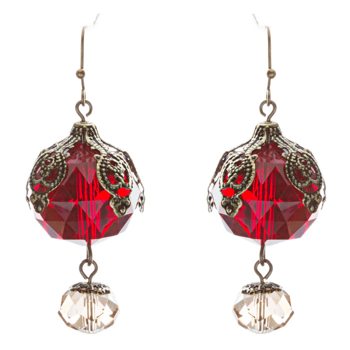 Contemporary Fashion Stunning Linear Glass Beads Dangle Earrings E840 Red