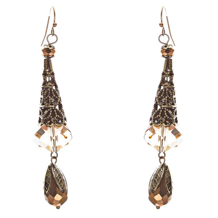 Bold Fashion Crystal Rhinestone Brassy Tear Drop Cone Design Earrings E841 Brown
