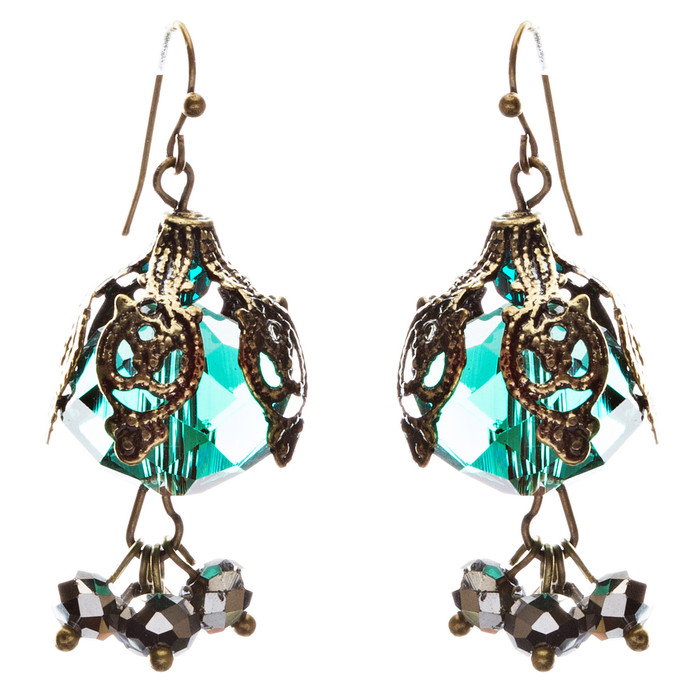 Bold Fashion Crystal Rhinestone Brassy Antique Cluster Ball Earrings E843 Green