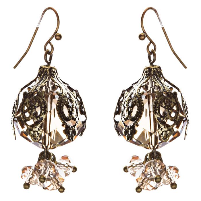 Bold Fashion Crystal Rhinestone Brassy Antique Cluster Ball Earrings E843 Ivory