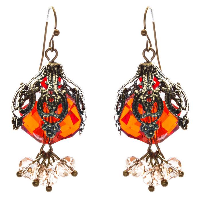 Bold Fashion Crystal Rhinestone Brassy Antique Cluster Ball Earrings E843 Red