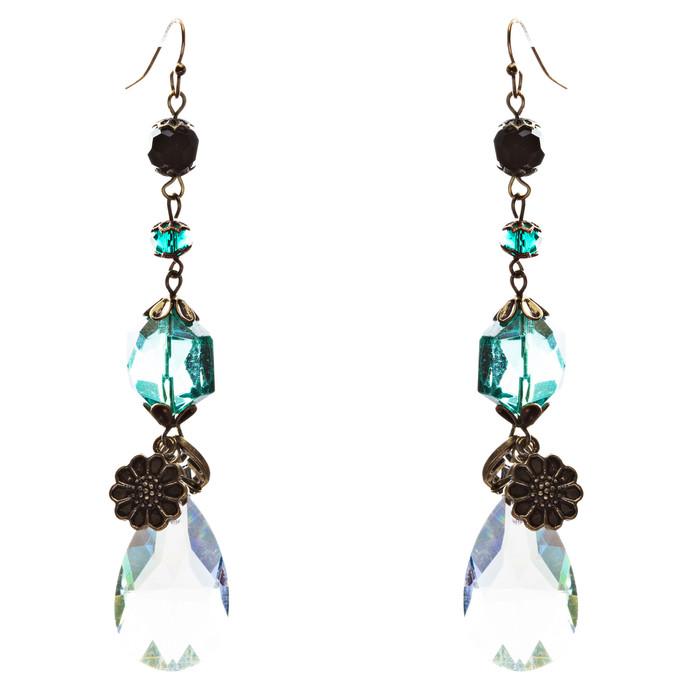 Trendy Design Crystal Rhinestone Linear Tear Drop Shape Earrings E845 Green