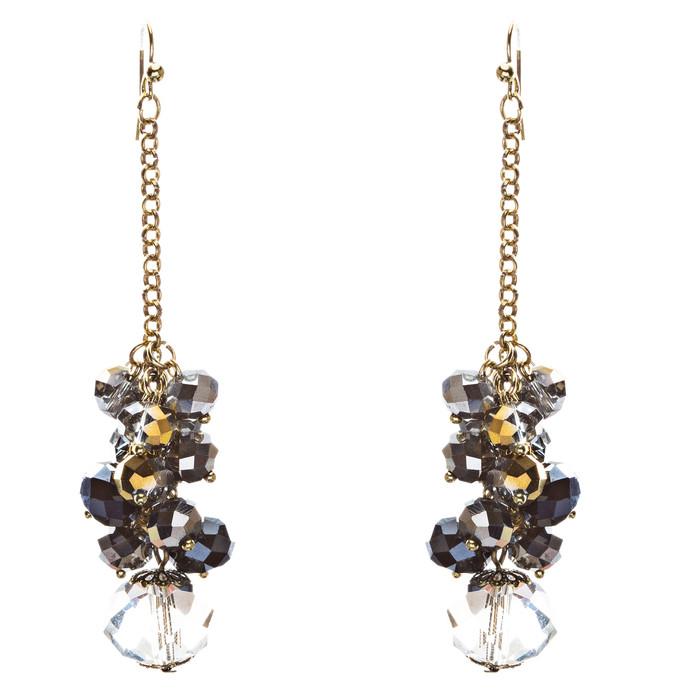 Trendy Design Crystal Rhinestone Lovely Cluster Balls Dangle Earrings E846 Black