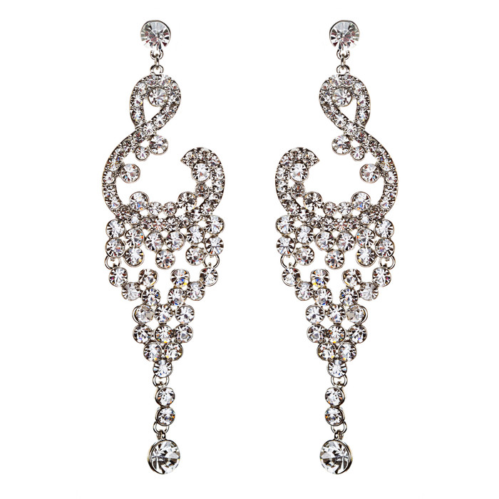 Bridal Wedding Jewelry Crystal Rhinestone Vintage Dangle Earrings E728 Silver