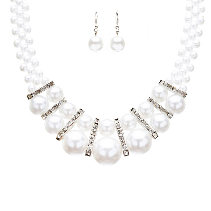 Bridal Wedding Jewelry Crystal Rhinestone Gorgeous Pearl Necklace J523 Silver