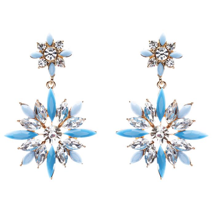 Modern Fashion Crystal Rhinestone Elegantly Crafted Star Earrings E808 Blue
