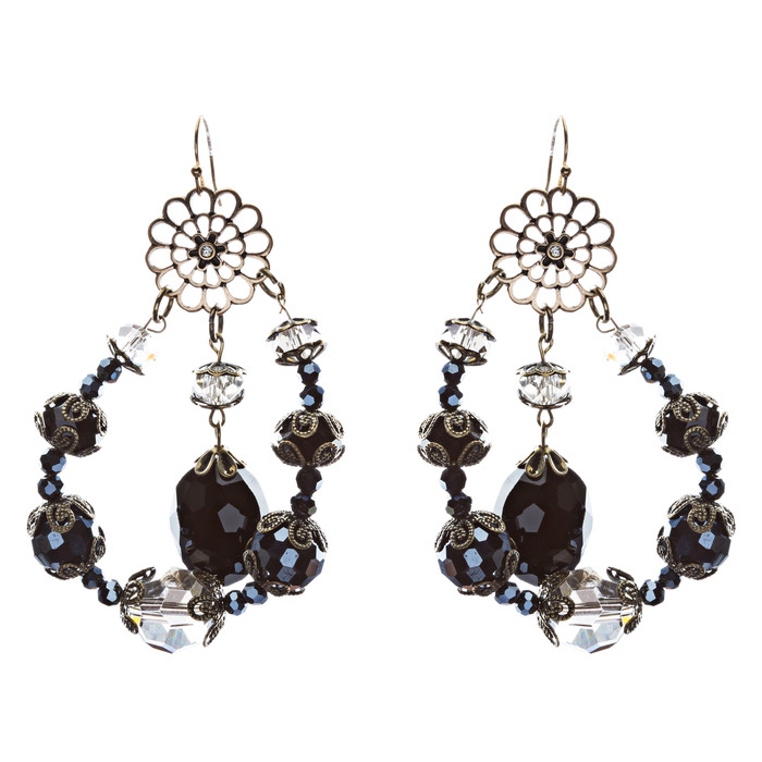 Bold Fashion Unique Beaded Charms In Tear Drop Statement Earrings E854 Black