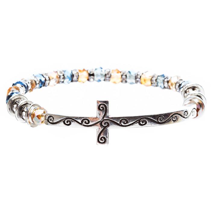 Cross Jewelry Crystal Rhinestone Gorgeous Cross Stretch Bracelet B466 Blue