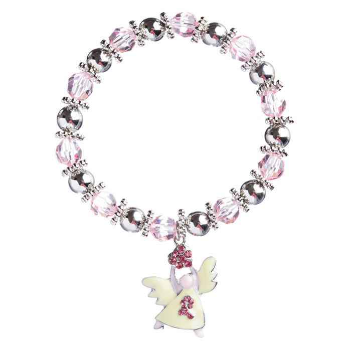 Pink Ribbon Jewelry Crystal Rhinestone Pretty Glass Beaded Necklace B486 Silver