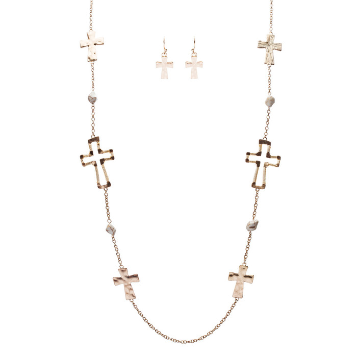 Cross Jewelry Simple Yet Fascinating Spiritual Charm Necklace Set JN223 Ivory