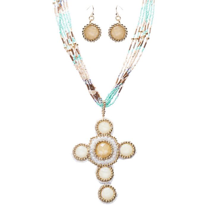 Cross Jewelry Traditional Design Beaded Necklace & Earrings Set JN245 Beige