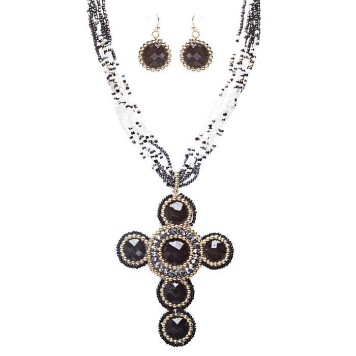 Cross Jewelry Traditional Design Beaded Necklace & Earrings Set JN245 Black