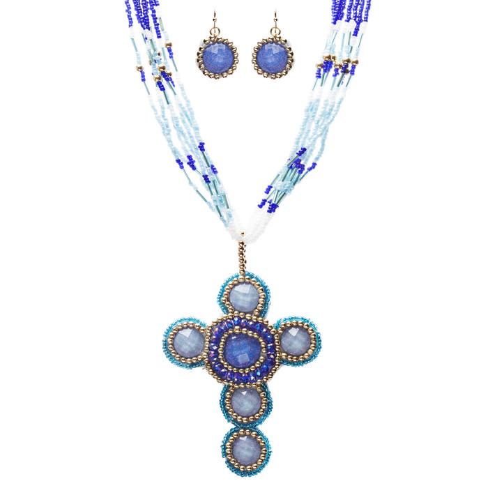 Cross Jewelry Traditional Design Beaded Necklace & Earrings Set JN245 Blue