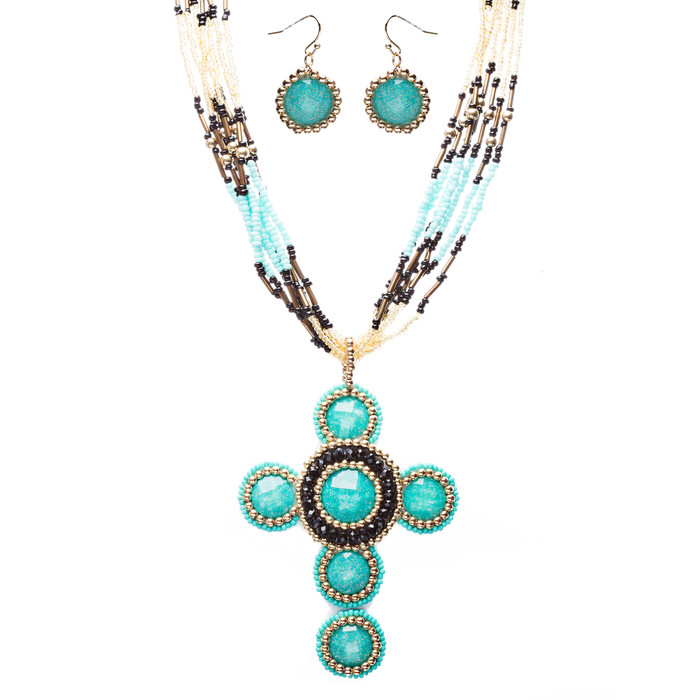 Cross Jewelry Traditional Design Beaded Necklace & Earrings Set JN245 Turquoise