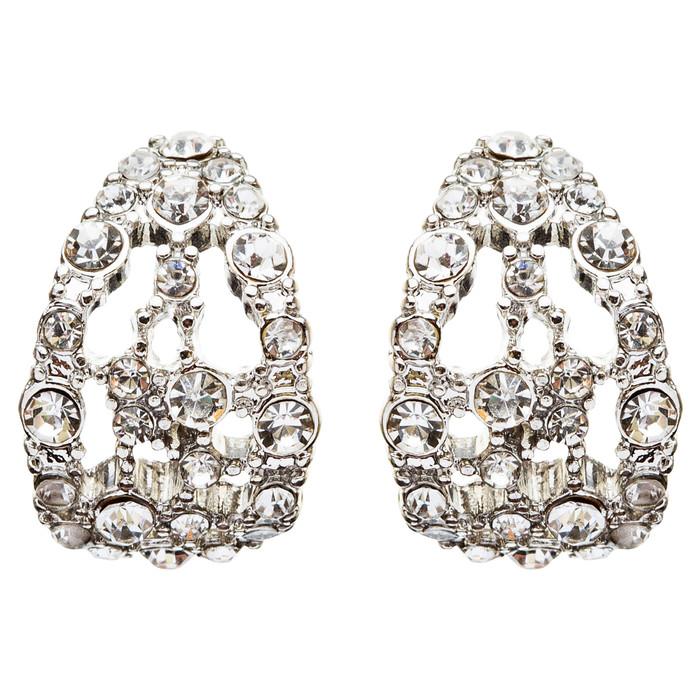 Bridal Wedding Jewelry Crystal Rhinestone Original Design Earrings E739 Silver