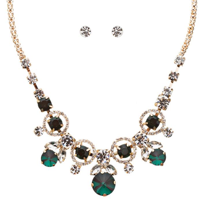 Glamorous Jewelry Set Crystal Rhinestone Elegant Setting Necklace J526 Green