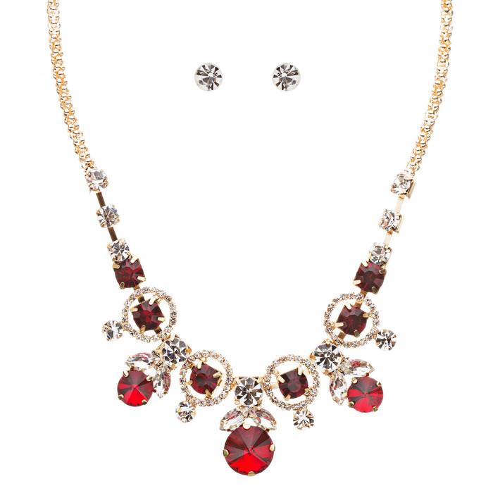 Glamorous Jewelry Set Crystal Rhinestone Elegant Setting Necklace J526 Red