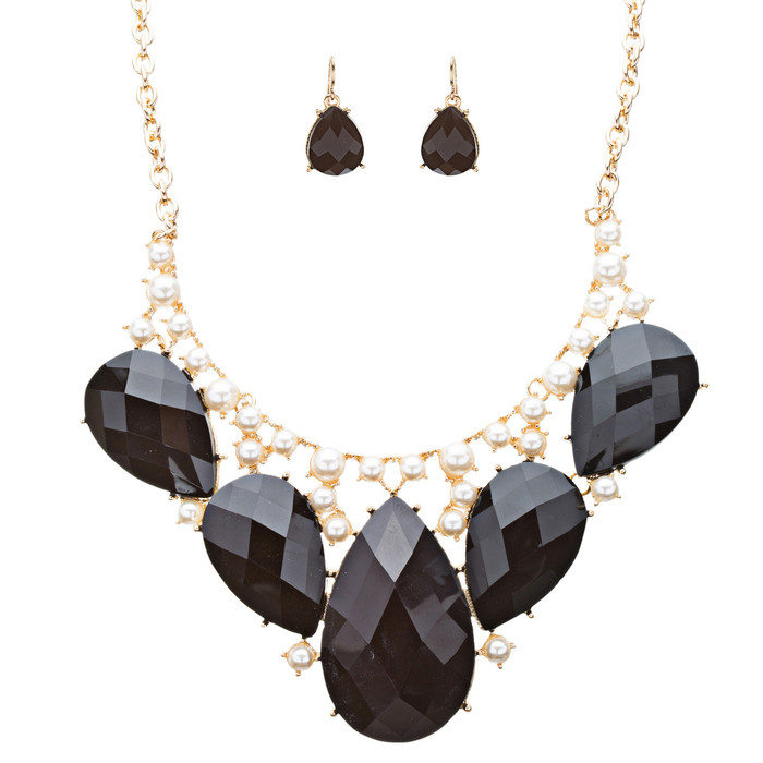 Modern Trendy Chic Bold Teardrop Design Statement Necklace Set  JN174 Black