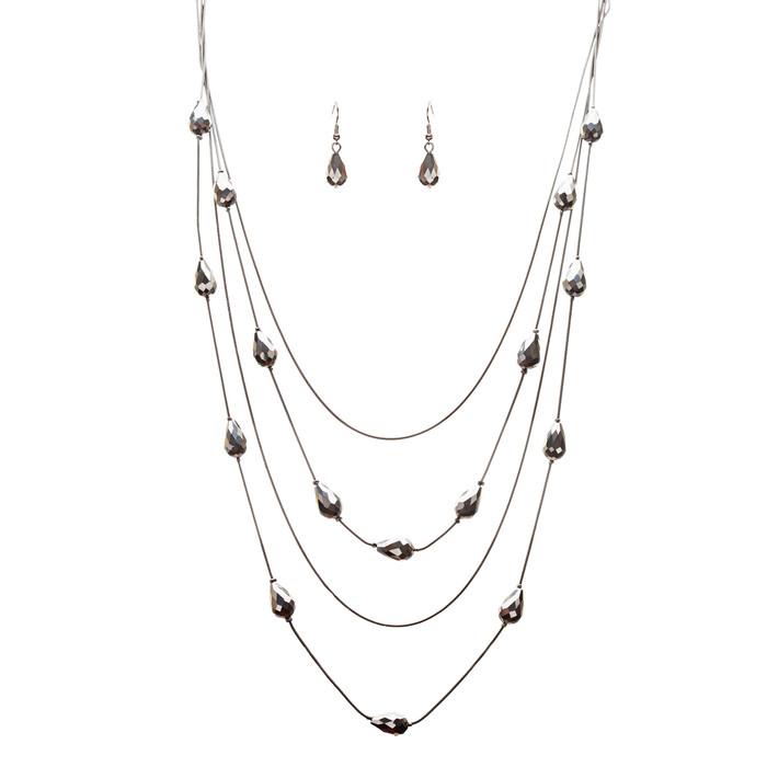 Trendy Fashion Crystal Rhinestone Charming Tear Drop Design Bracelet JN175 Black