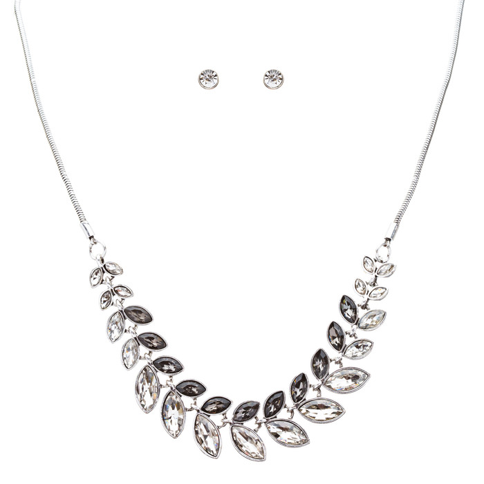 Beautiful Attractive Leaf Design Crystal Statement Necklace Set JN177 Gray