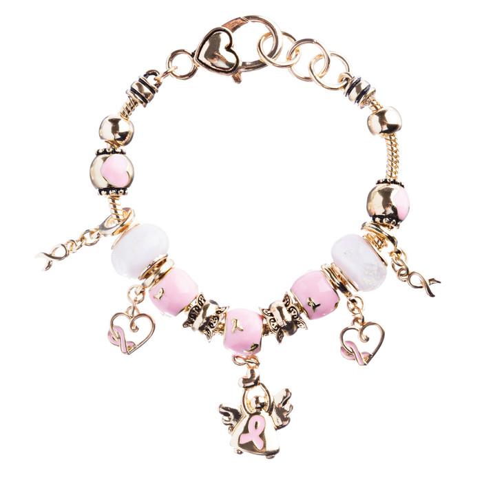 Pink Ribbon Jewelry Crystal Rhinestone Cute Dangling Link Bracelet B478 Gold