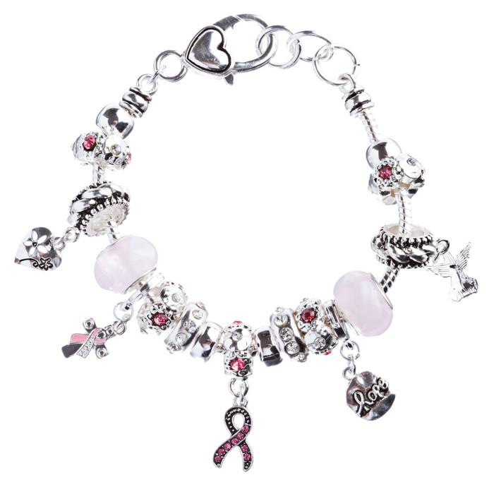 Pink Ribbon Jewelry Crystal Rhinestone Adorable Charms Link Bracelet B481 Silver