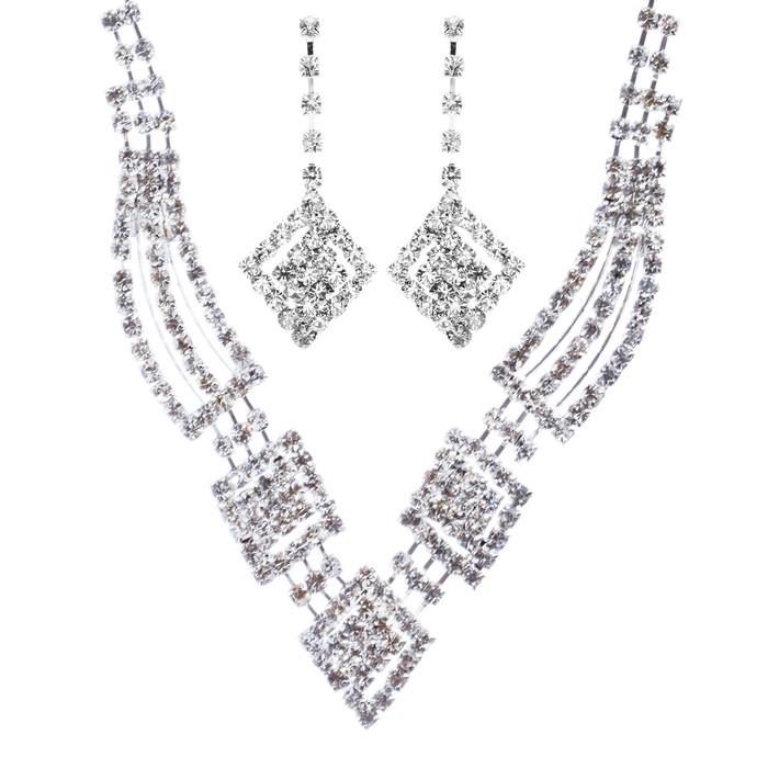 Bridal Wedding Jewelry Crystal Rhinestone Gorgeous Design Necklace J572 Silver