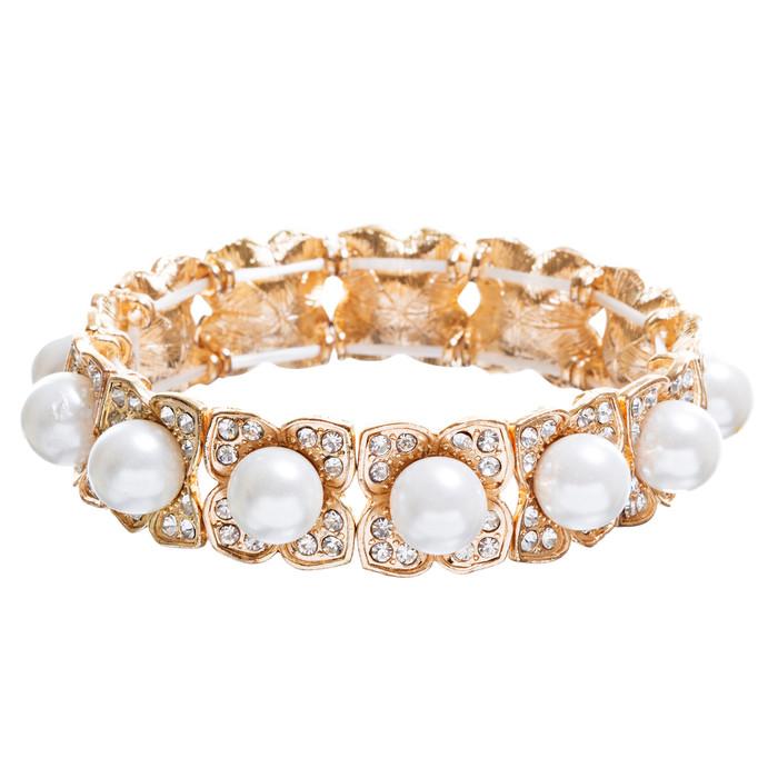 Bridal Wedding Jewelry Crystal Rhinestone Elegant Faux Pearl Bracelet B356 Gold