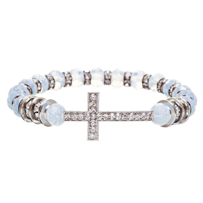 Cross Jewelry Crystal Rhinestone Trendy Design Cross Stretch Bracelet B362 White