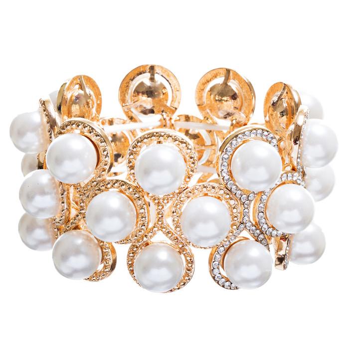 Bridal Wedding Jewelry Crystal Rhinestone Impressive Faux Pearl Bracelet B499 GD