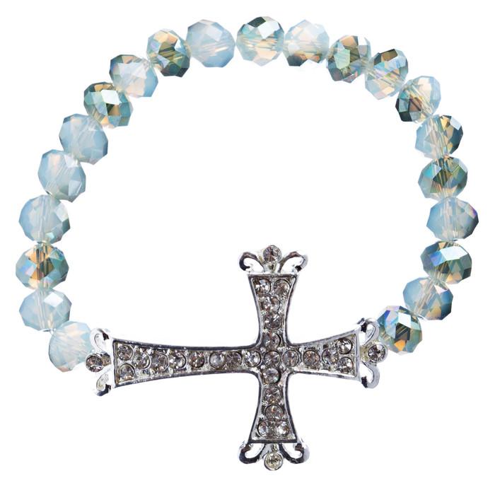 Cross Jewelry Crystal Rhinestone Vintage Design Cross Stretch Bracelet B501 GRN