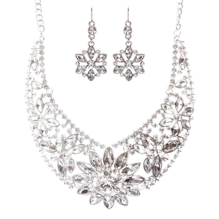 Bridal Wedding Jewelry Set Crystal Rhinestone Classic Bib Design J589 Silver