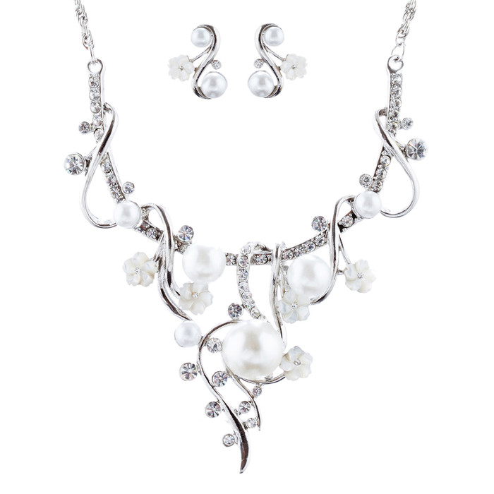 Bridal Wedding Jewelry Crystal Rhinestone Pearl Gorgeous Necklace Set J684 SV