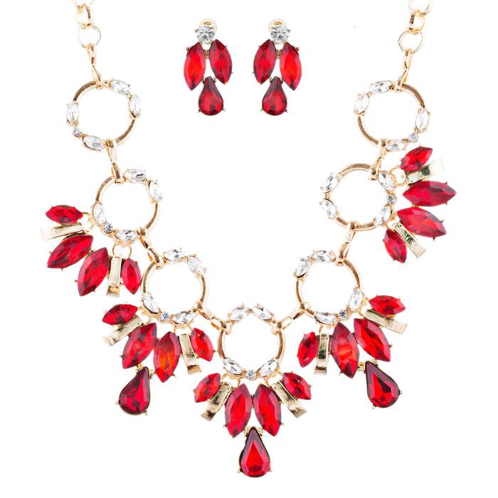 Beautiful Stylish Trendy Crystal Statement Necklace Jewelry Set JN270 Red
