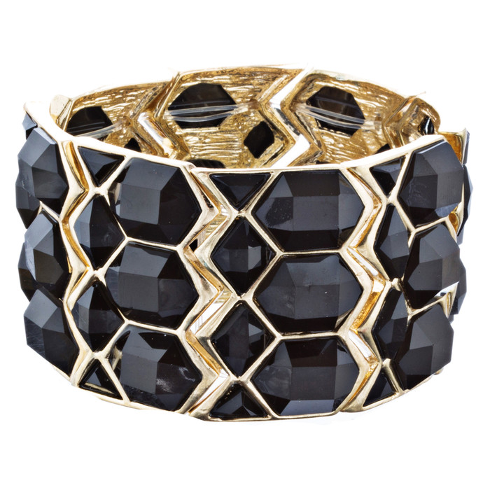 Trendy Beautiful Statement Fashion Stretch Bracelet B510 Gold Black