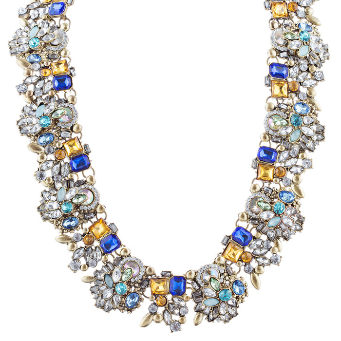 Stunning Sparkle Crystal Rhinestone Fashion Statement Necklace N100 Blue