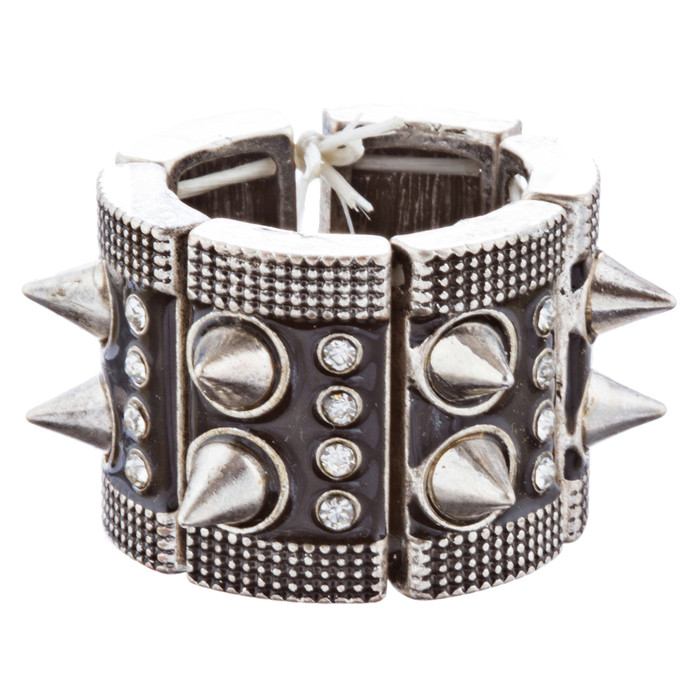 Ultra Chic Spike Design Stretch Fashion Ring R222 Black Silver