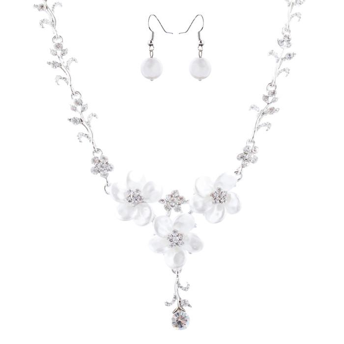 Bridal Wedding Jewelry Crystal Rhinestone Lovely Floral Necklace Set J695 Silver