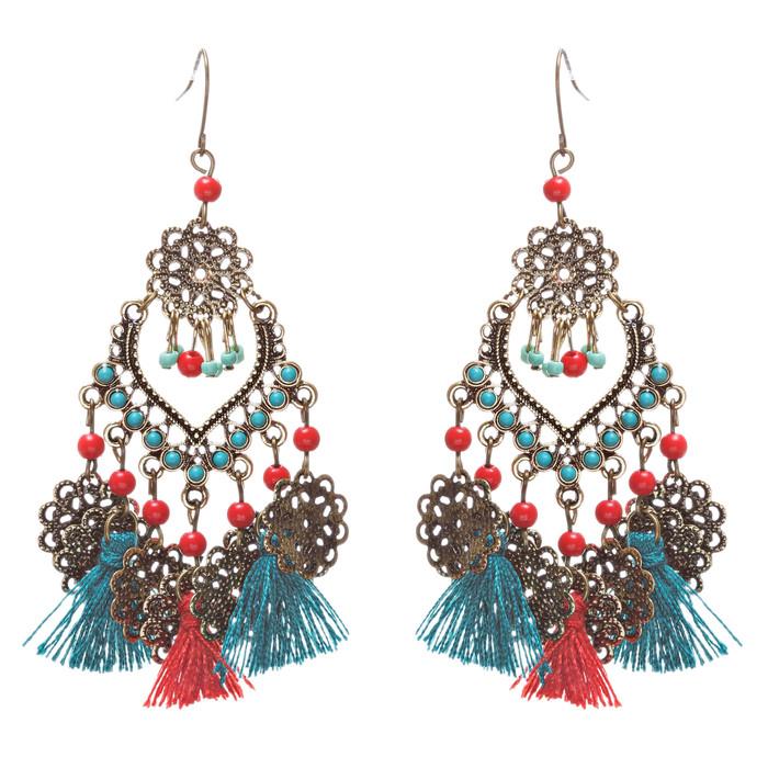 Beautiful Statement Fashion Style Tassel  Beads Dangle Earrings E952 Green Red