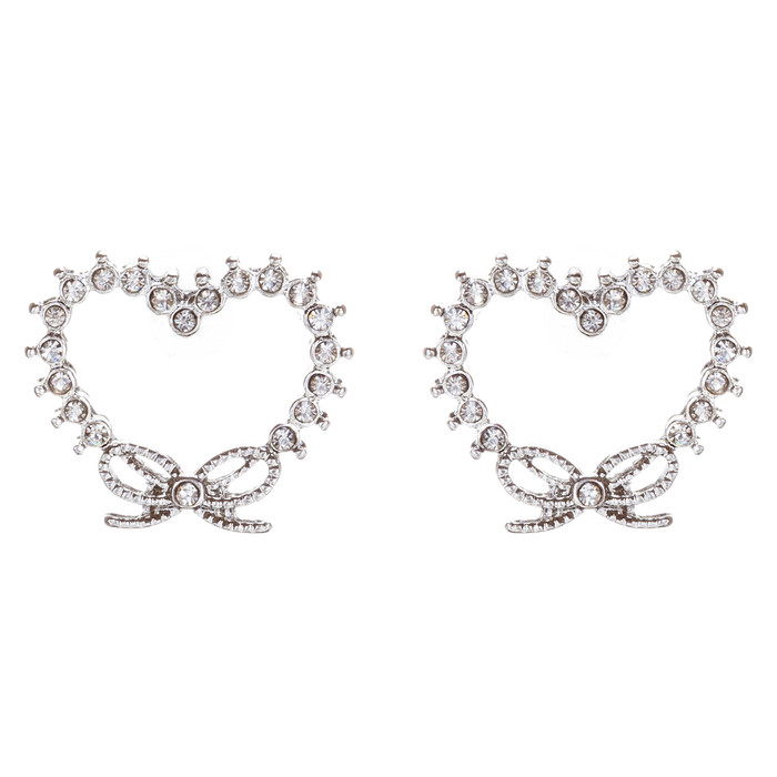 Valentines Jewelry Wedding Heart Ribbon Charm Stud Style Earrings E956 Silver