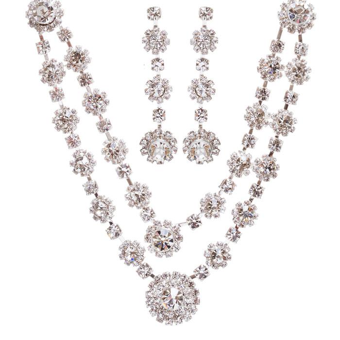 Bridal Wedding Jewelry Prom Crystal Rhinestone Stunning Necklace Set J660 Silver