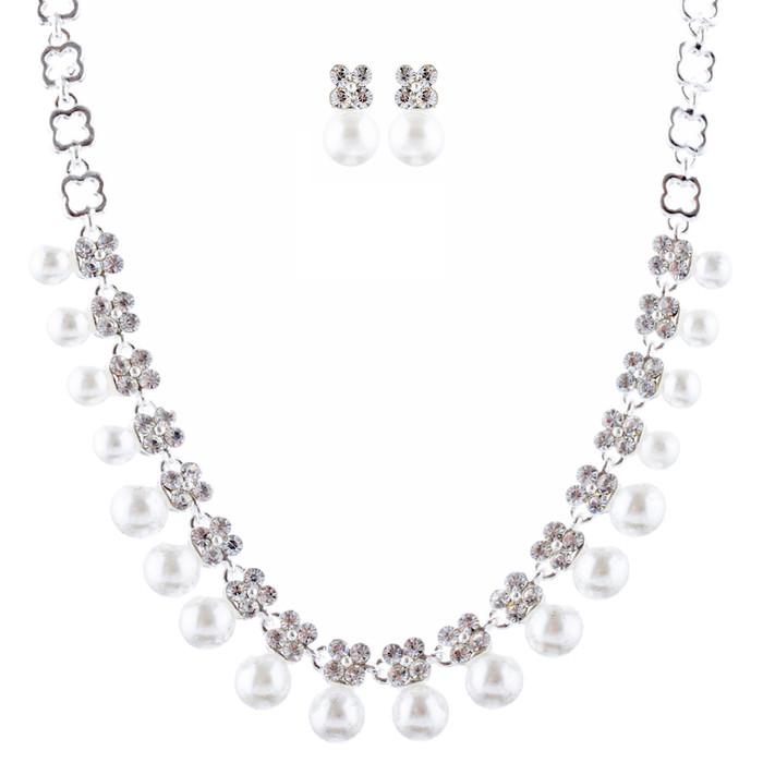 Bridal Wedding Jewelry Rhinestone Pearl Dangles Floral Necklace Set J666 Silver