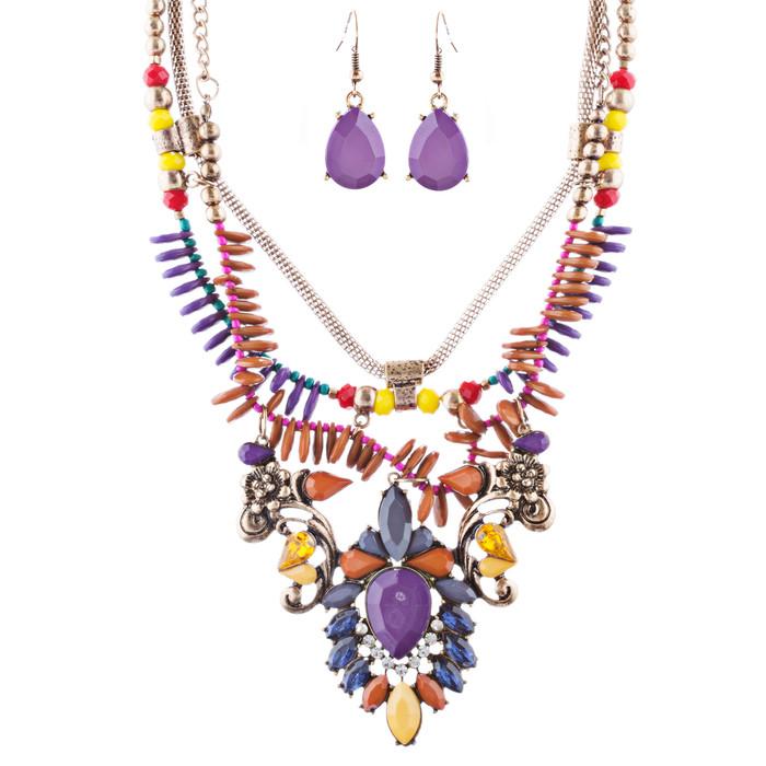 Stunning Magnificent Bead Crystal Rhinestone Statement Necklace Set JN269 Purple