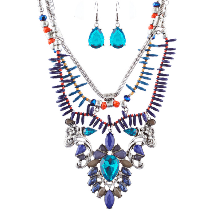 Stunning Magnificent Bead Crystal Rhinestone Statement Necklace Set JN269 SV BL