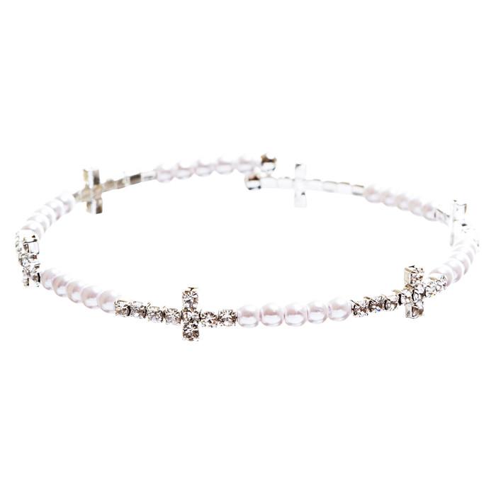 Cross Jewelry Crystal Rhinestone Stylish Sideways Cross Bracelet B495 Silver
