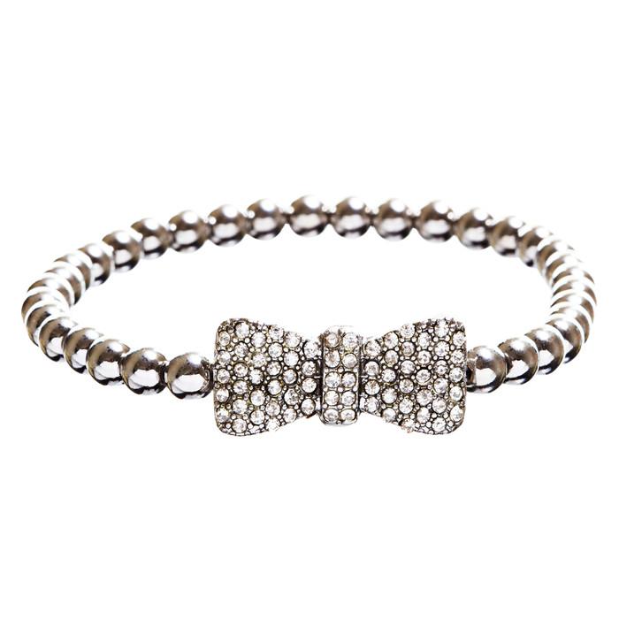 Fashion Chic Crystal Rhinestone Gorgeously Crafted Bow Bracelet B496 Silver