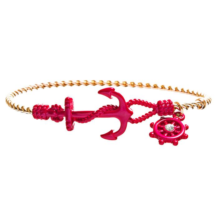 Nautical Fashion Crystal Rhinestone Symbolic Shiny Anchor Bracelet B497 Red