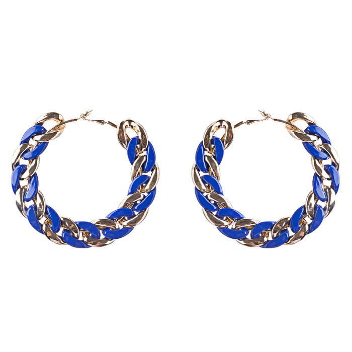 Modern Fashion Unique Intertwined Chain Links Pattern Hoop Earrings E780 Blue