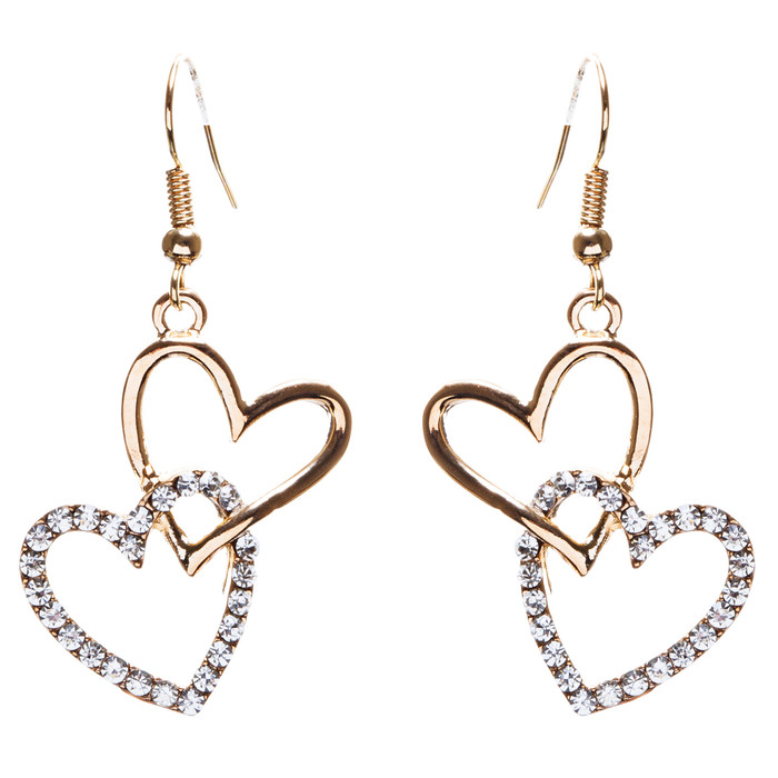 Adorable Chic Valentine Theme Crystal Rhinestone Heart Dangle Earrings E905 Gold