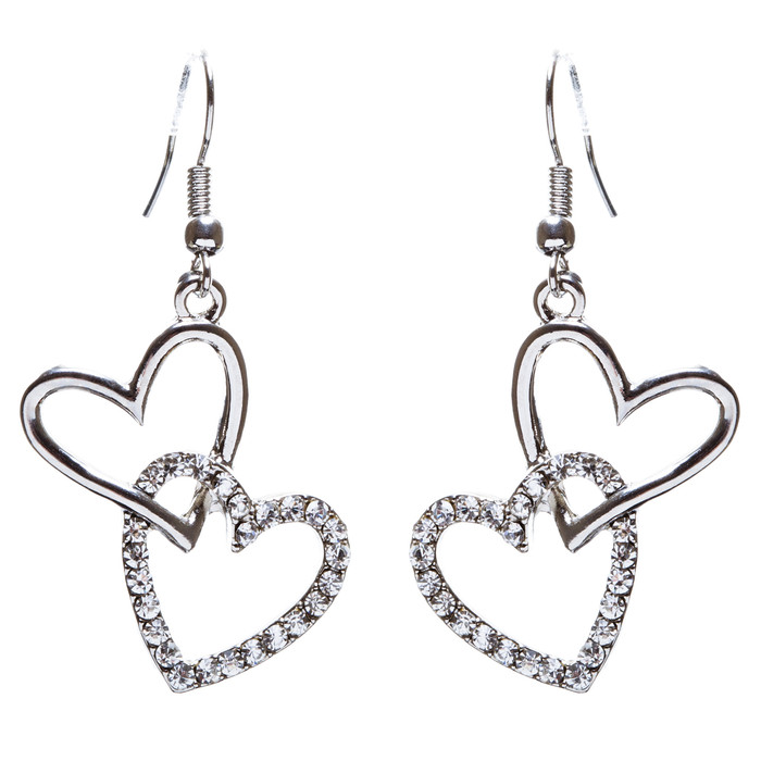 Adorable Chic Valentine Theme Crystal Rhinestone Heart Dangle Earrings E905 SVR